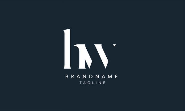 HW Lowercase Letter Initial Icon Logo Design Vector Illustration