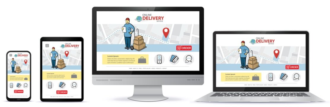 Responsive design template for online shopping app and mobile website. Online delivery service vector UI on Smart Phone, Tablet PC, Computer Monitor and Laptop Computer