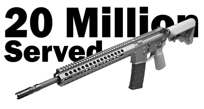 3D illustration that reflects the fact that 20 million AR-15s have been sold