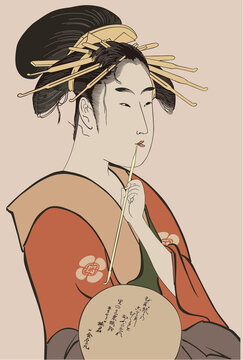 eps Vector image:Ukiyo-e Beautiful woman Prostitute painting