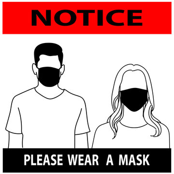 notice or mandatory sign,for please wear a mask avoid covid-19.