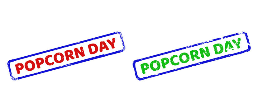 POPCORN DAY Bicolor Rough Rectangular Stamps with Unclean Textures