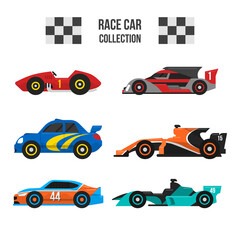 Sport and Racing Cars Decorative Icons Set Isolated Vector Illustration