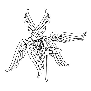 orthodox six-winged seraph with a sword, heaven messenger, for christmas and easter cards, posters, vector illustration with black ink contour lines isolated on a white background in hand drawn style