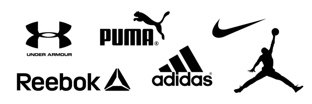 Reebok, Nike, Jordan, Adidas, Puma, Under Armour - logos of sports equipment and sportswear company. Kyiv, Ukraine - December 20, 2020
