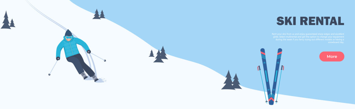 Ski Rental horizontal banner. Winter Sport. The skier rushes down the slope. Winter holidays in the mountains. Alpine skiing. Vector illustration.
