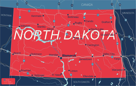 North Dacota state detailed editable map with cities and towns, geographic sites, roads, railways, interstates and U.S. highways. Vector EPS-10 file, trending color scheme