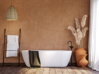 Obraz Local style bathroom with blank orange wall 3d render,There are old wood floor decorate with rattan lamp and terracotta jar with dry reed flower. - fototapety do salonu
