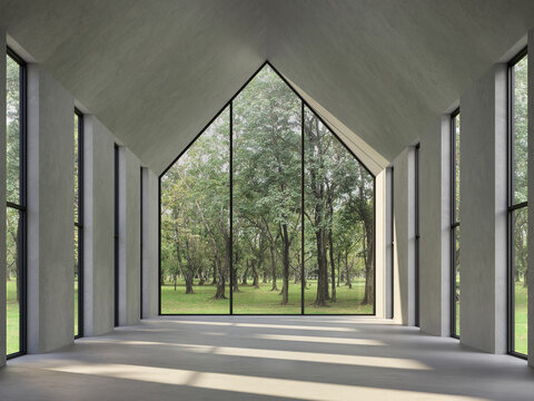 Empty concrete room with nature view 3d render,There are polished concrete floor ,wall and triangle shape ceiling,There are large window look out to see the nature,sunlight shining into the room.
