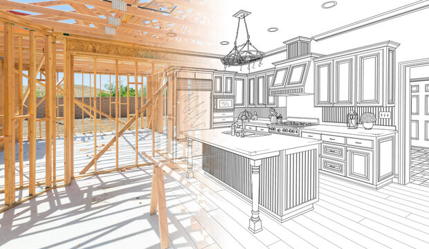 House Construction Framing Gradating Into Kitchen Design Drawing