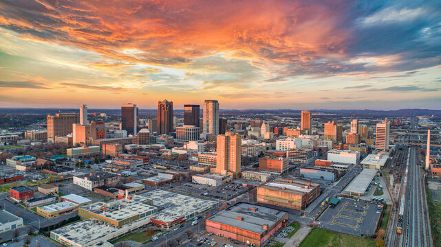 Birmingham, Alabama, USA Downtown Drone Skyline Aerial Panorama
