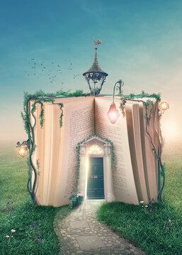 Book with open door.