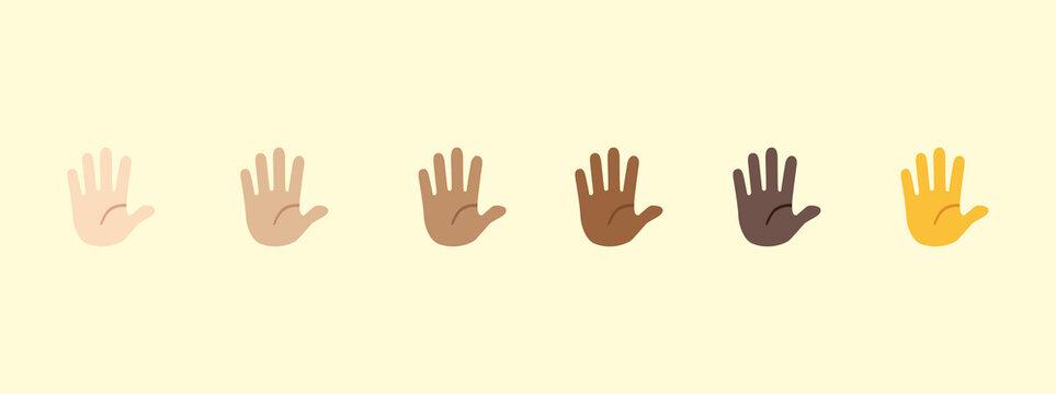 Raising hand emoji gesture vector isolated icon illustration. Open hand gesture icon