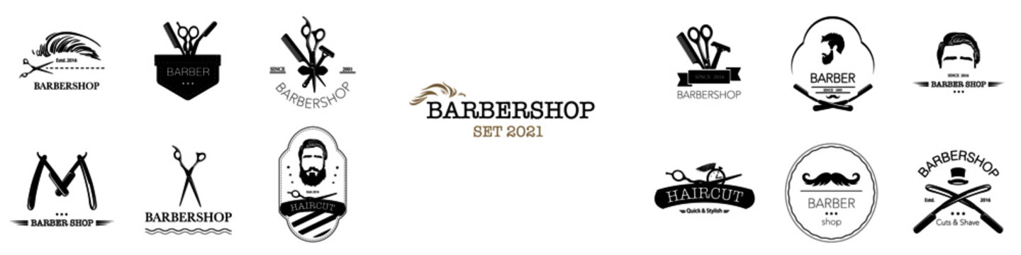 Set of barbershop logos. Hair salon logotypes with haircuts and barber tools and accessories. Vector Illustration