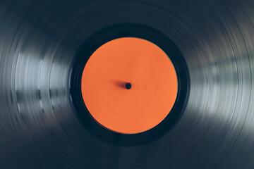 Obraz Close up of turntable vinyl record spinning - fototapety do salonu