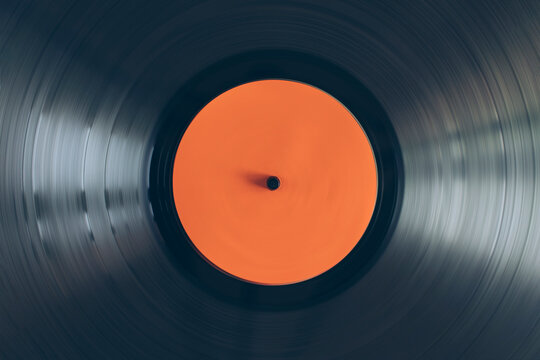 Close up of turntable vinyl record spinning