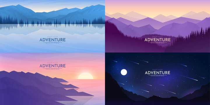 Vector abstract background set. Minimalist style. Flat concept. 4 landscapes collection. Mountain view, forest trees, night scene, water and rocks. Geometric polygonal design. Website template