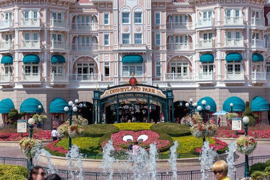 Hotel inside the park in Disneyland Paris. August 28, 2019, Paris, France