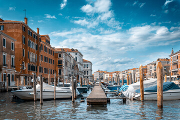 Italy, Venice. Grand canal for gondola in travel europe city. Old italian architecture with landmark bridge, romantic boat. Venezia.