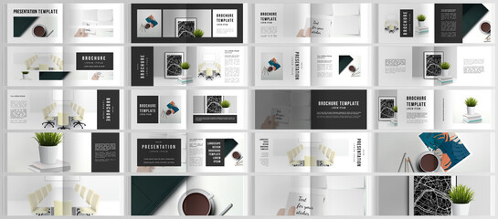 Vector layouts of horizontal presentation design templates for landscape design brochure, cover design, flyer, book design, magazine. Home office concept, study or freelance, working from home.