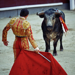 Traditional corrida - bullfighting in spain. Bulfighting has been prohibited in Catalunia since 2011 for animal torturing.