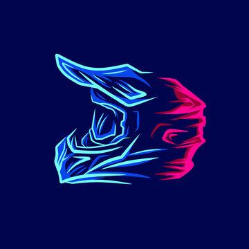 Motocross helmet trail fullface adventure line pop art potrait logo colorful design with dark background. Abstract vector illustration. Dark minimalist graphic.