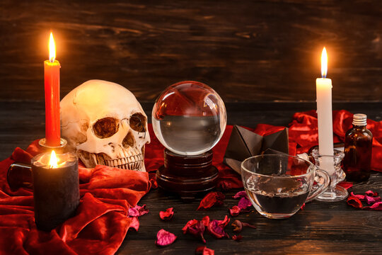 Accessories of fortune teller on table
