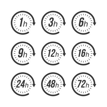 Icon set hours, great design for any purposes. Time icon vector. Vector illustration.