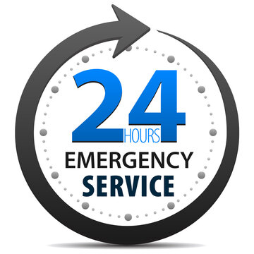 Emergency Customer Service and support 24 hours a day icon isolated on white background. 24-7 emergency customer service and support around the clock.