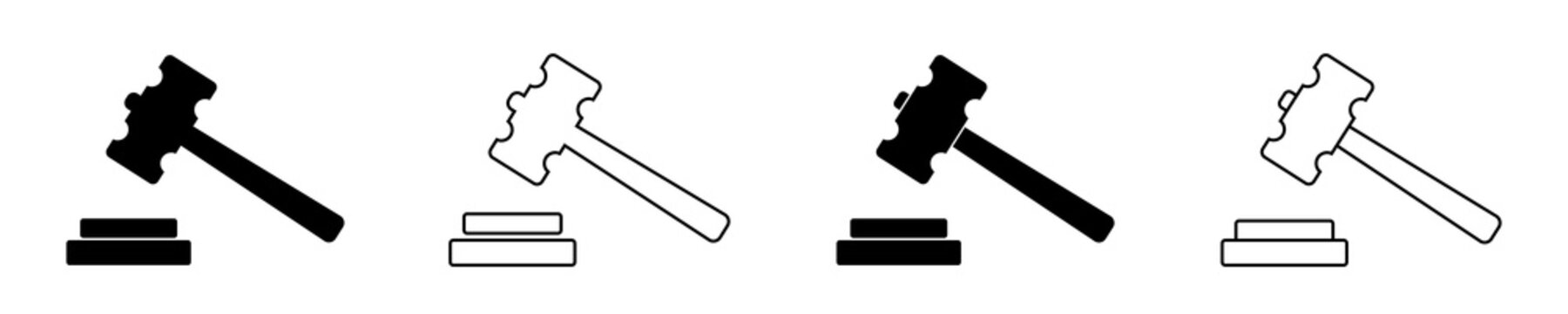Icon of gavel. Hammer for judge. Logo of law or auction. Mallet of judgement on court. Black symbol of legal decision. Act of justice. Graphic in line style for concept of verdict and bid. Vector