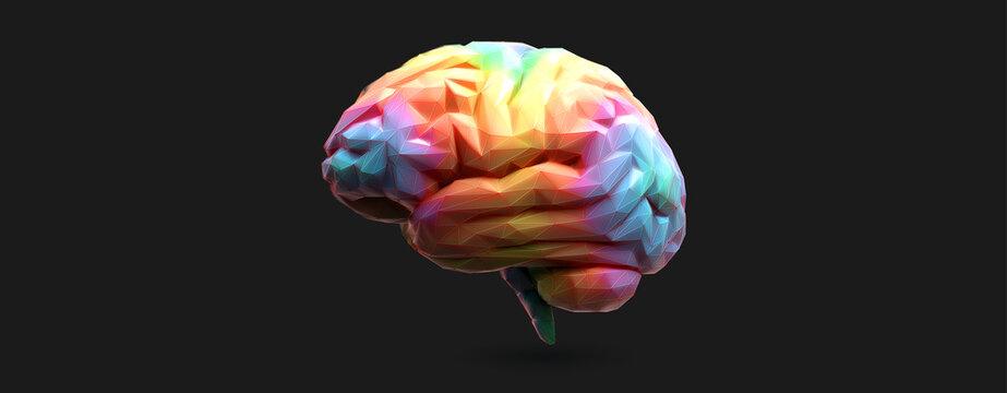 Colorful polygonal 3D brain vector illustration on white BG