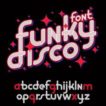 Vector funky rounded lower case alphabet letters collection with parallel lines, for use as retro poster design elements for fun club or concert advertising.