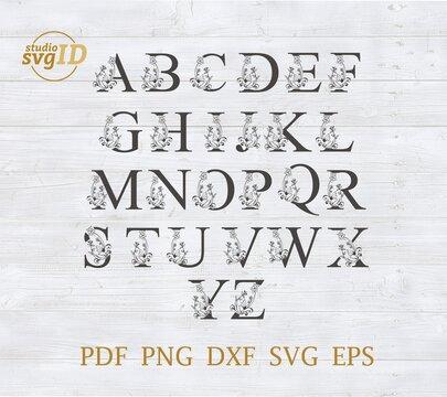 Letter A-Z Capital Illuminated vector Svg
