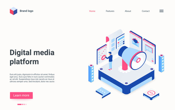 Digital media platform isometric vector illustration. Broadcasting and communication. Audio file live streaming. Virtual library for music content. Advertisement cartoon conceptual design element