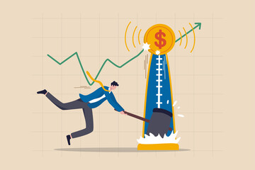 Investment asset price hit all time high, market rising, stock, crypto currency or gold price rally concept, businessman investor with hammer hit hard on strength tester to reach it top new high graph - fototapety na wymiar