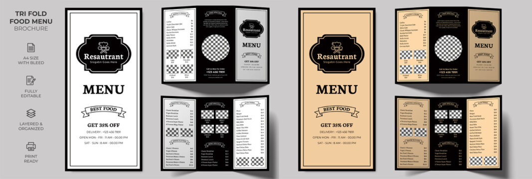 Vector Tri-fold Food Menu Brochure Template, simple style and modern layout