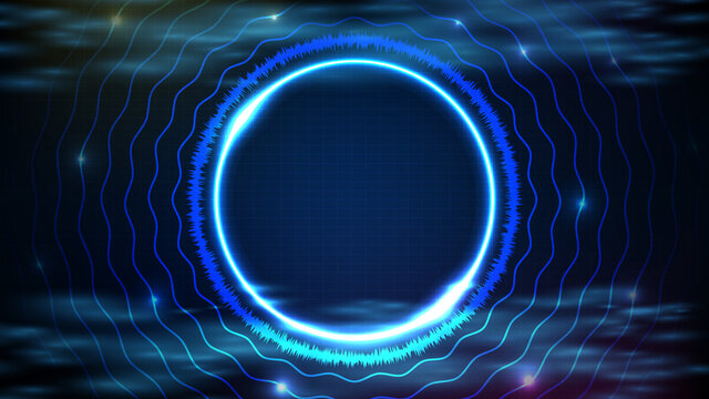 abstract futuristic background of blue neon circle round frame with sound equalizer wave DJ music