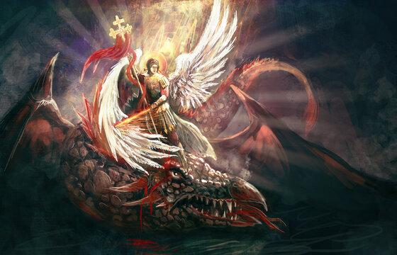 Saint Archangel Michael killing dragon