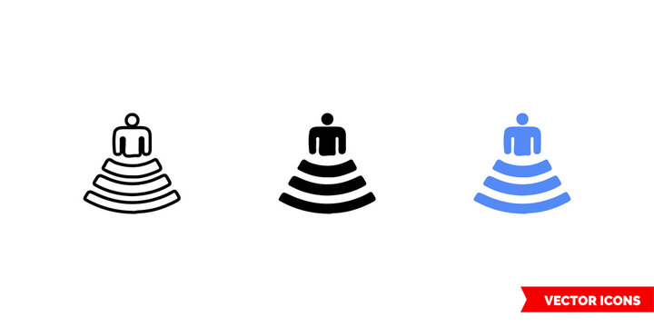 Map symbol amphitheater icon of 3 types color, black and white, outline. Isolated vector sign symbol.