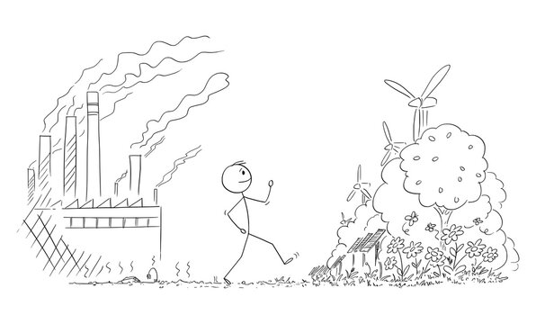 Vector cartoon stick figure illustration of man walking from place with nature destroyed by pollution from heavy industry and coal plants, to nice future of renewable resources of energy.