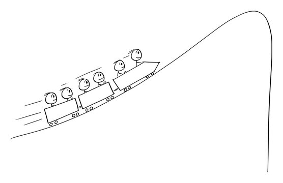 Vector cartoon stick figure illustration of group of people or businessmen riding on economical or financial roller-coaster facing depression, drop or crisis.