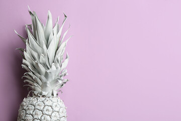 White pineapple on light background, top view with space for text. Creative concept
