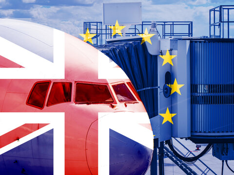 EU UK Flag overlaying Aeroplane Plane Cockpit scene. Concept piece showing EU banning UK Flights, Travel, transportation and cargo from entering their countries following a mutation of COVID19 Virus