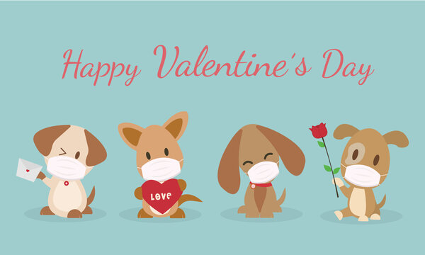 Happy Valentine's Day cute dogs wear mask protection virus and covid19. The dog is shy and smiling Vector illustration card with cute cartoon little Valentine. cute animal vector.