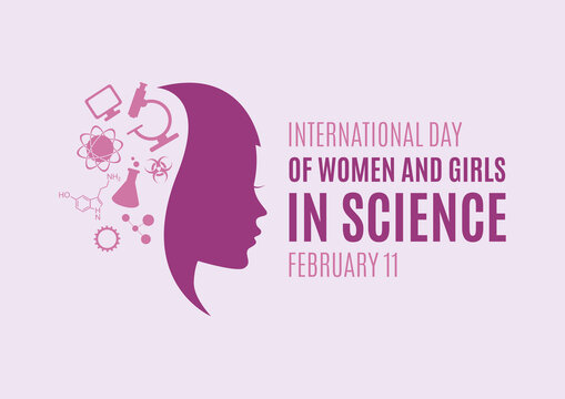 International Day of Women and Girls in Science vector. Science icon set vector. Young woman face profile purple silhouette vector. Important day