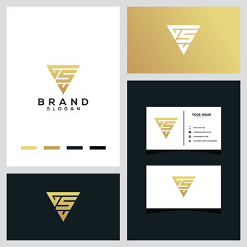 Letter GSV triangle luxury logo concept vector template