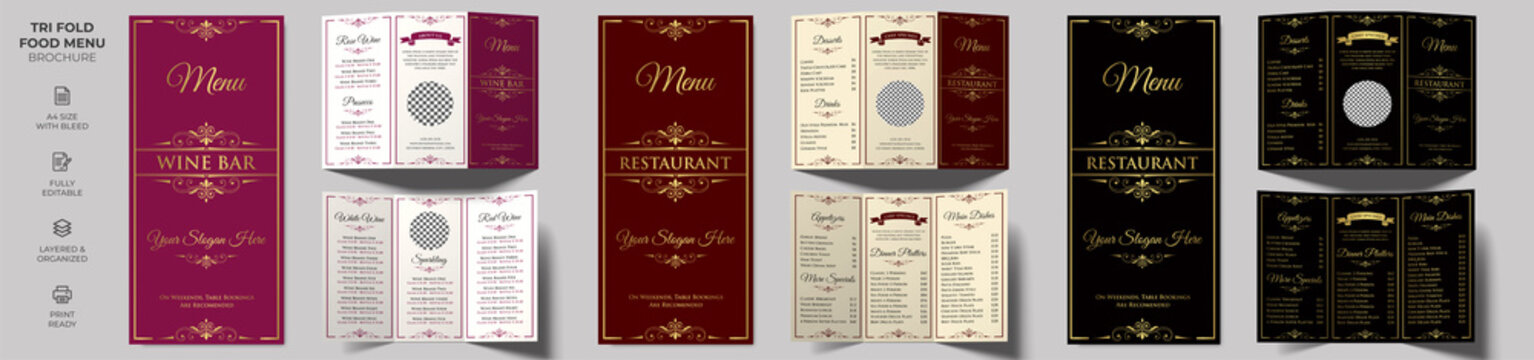Vector Tri-fold Food Menu Brochure Template, Wine Menu Brochure Template simple style and modern layout