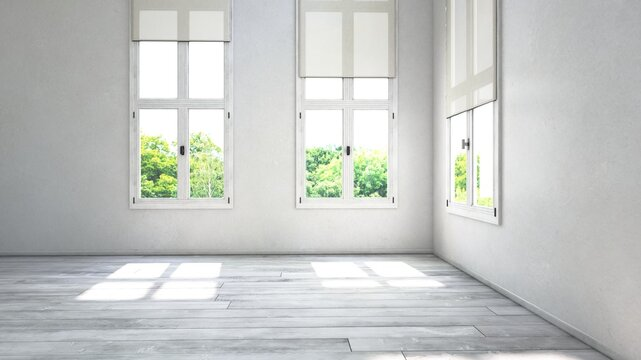 Empty room corner view with large windows. 3D Rendering