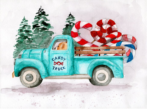 Watercolor illustration of a blue truck with bear driver carrying some colorful candy canes