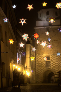 Christmas illuminations at the Krakow Gate in Lublin
